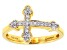 White Cubic Zirconia 18k Yellow Gold Over Sterling Silver Cross Ring .23ctw