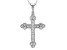 White Cubic Zirconia Rhodium Over Sterling Silver Cross Pendant With Chian .95ctw