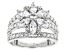 White Cubic Zirconia Rhodium Over Sterling Silver Floral Ring