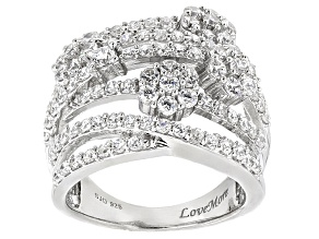 White Cubic Zirconia Rhodium Over Silver Floral Ring 4.25ctw