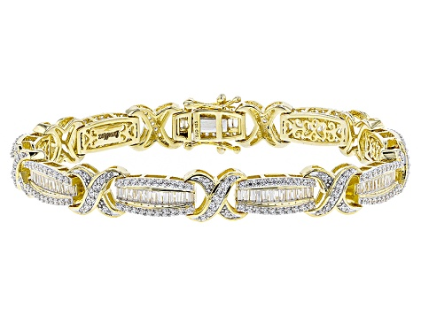 White Cubic Zirconia 18k Yellow Gold Over Sterling Silver Bracelet 9.89ctw