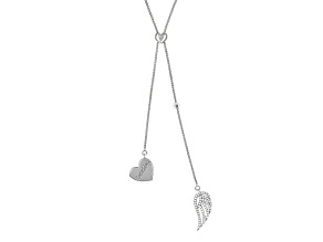 White Cubic Zirconia Rhodium Over Sterling Silver Adjustable Necklace .95ctw