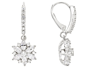 White Cubic Zirconia Rhodium Over Silver Floral Earrings 3.69ctw
