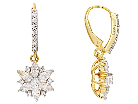 White Cubic Zirconia 18k Yellow Gold Over Sterling Silver Floral Earrings