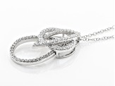 white cubic zirconia rhodium over silver pendant with chain
