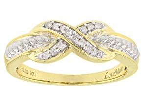 white diamond accent rhodium & 18k yellow gold over silver ring 0.10ctw