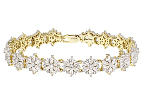 White Cubic Zirconia 18k Yellow Gold Over Silver Bracelet 17.19ctw