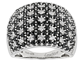 black spinel & white zircon rhodium over silver ring 3.77ctw