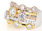 white cubic zirconia 18k yellow gold, rose gold, & rhodium over silver ring
