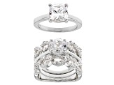 white cubic zirconia rhodium over sterling silver rings with guard