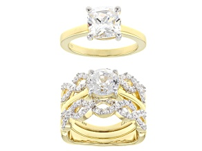 white cubic zirconia 18k yellow gold over silver rings