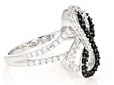 White Zircon & Black Spinel Rhodium Over Sterling Silver Ring 1.05ctw