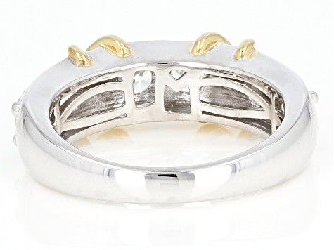 white cubic zirconia rhodium & 18k yellow gold over silver ring