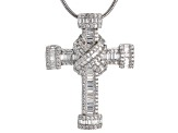 white cubic zirconia rhodium over silver cross pendant with chain