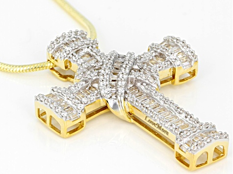 white cubic zirconia 18k yellow gold over silver cross pendant with chain