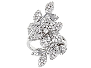 White Cubic Zirconia Rhodium Over Sterling Silver Ring 2.22ctw
