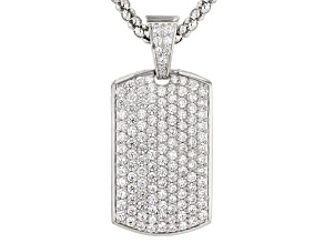 White Cubic Zirconia Rhodium Over Silver Dog Tag Enhancer With Chain