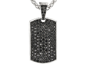 Black Spinel Rhodium Over Sterling Silver Dog Tag Enhancer With Chain