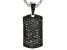 Black Spinel Rhodium Over Sterling Silver Dog Tag Enhancer With Chain 4.15ctw