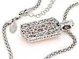 Pink Cubic Zirconia Rhodium Over Silver Dog Tag Enhancer With Chain