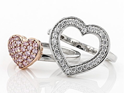 Pink & White Cubic Zirconia Rhodium & 18K Rose Gold Over Silver Heart Ring With Guard