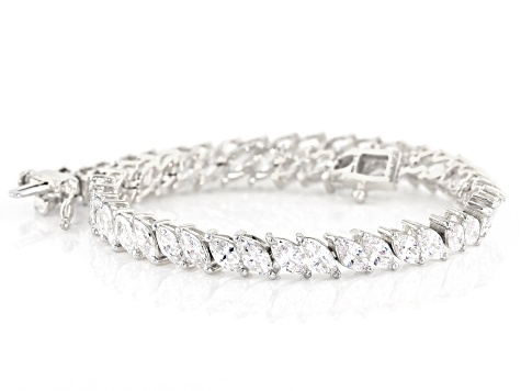 White Cubic Zirconia Rhodium Over Sterling Silver Tennis Bracelet 18.40ctw