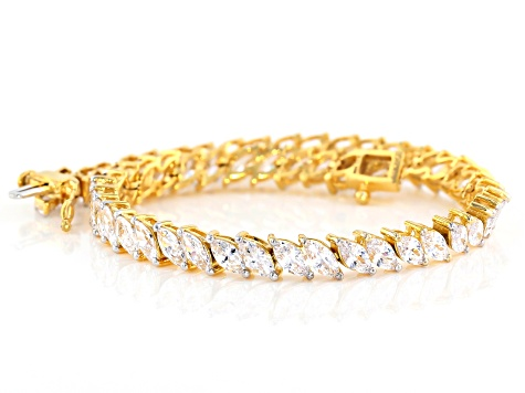 White Cubic Zirconia 18K Yellow Gold Over Sterling Silver Tennis Bracelet 18.40ctw