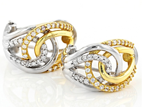 White Zircon Rhodium & 18K Yellow Gold Over Sterling Silver Earrings 0.75ctw