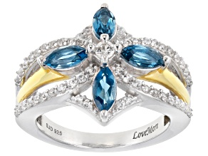 London Blue Topaz & White Zircon Rhodium & 18K Yellow Gold Over Silver Ring