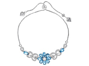 Swiss Blue Topaz & White Zircon Rhodium Over Sterling Silver Adjustable Floral Bracelet