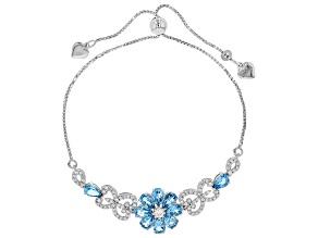 Swiss Blue Topaz & White Zircon Rhodium Over Sterling Silver Adjustable Floral Bracelet