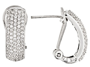 White Zircon Rhodium Over Sterling Silver Clip Earrings 1.71CTW