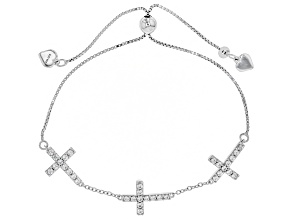White Zircon Rhodium Over Sterling Silver Cross Adjustable Bracelet 1.67ctw