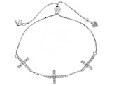 White Zircon Rhodium Over Sterling Silver Cross Adjustable Bracelet 1.67ctw