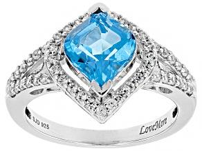 Swiss Blue Topaz & White Zircon Rhodium Over Sterling Silver Ring 2.50CTW