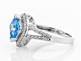 Swiss Blue Topaz & White Zircon Rhodium Over Sterling Silver Ring 2.50CTW