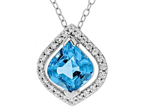 Bella Luce ® Swiss Blue Topaz & White Zircon Rhodium Over Sterling Silver Pendant With Chain