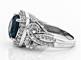 London Blue Topaz & White Zircon Rhodium Over Sterling Silver Ring 7.79CTW