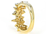 White Cubic Zirconia 18K Yellow Gold Over Sterling Silver Floral Ring