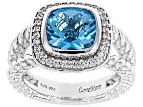 Swiss Blue Topaz & White Zircon Rhodium Over Sterling Silver Ring 3.96CTW