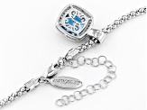 Swiss Blue Topaz & White Zircon Rhodium Over Sterling Silver Pendant With Chain