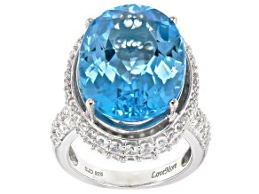 Swiss Blue Topaz & White Zircon Rhodium Over Sterling Silver Ring