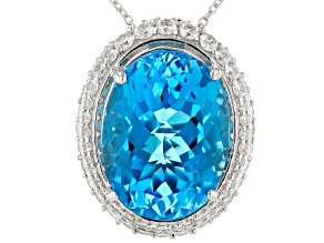 Swiss Blue Topaz & White Zircon Rhodium Over Sterling Silver Pendant With Chain 25.39ctw