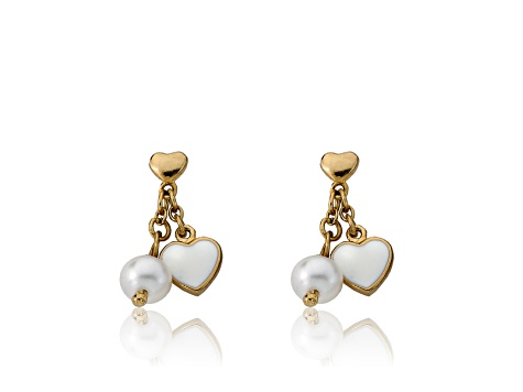 White Enamel & Freshwater Pearl 14k Gold Plated Brass Child's Dangle Earrings