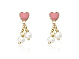 Pink Enamel & Freshwater Pearl 14k Gold Plated Brass Child's Dangle Earrings