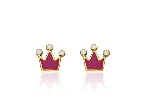 Little Miss Twin Stars Pink & White Enamel 14k Yellow Gold Plated Brass Child's Crown Earrings