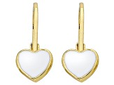 Little Miss Twin Stars White Enamel 14k Yellow Gold Plated Brass Child's Heart Earrings