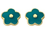 Little Miss Twin Stars Teal Enamel 14k Yellow Gold Plated Brass Child's Flower Stud Earrings