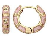 Little Miss Twin Stars Diamond Simulant & Pink Enamel 14k Gold Over Brass Child's Flower Huggies