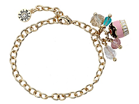 Little Miss Twin Stars Multi Color Enamel 14k Yellow Gold Plated Br Child S Cupcake Bracelet